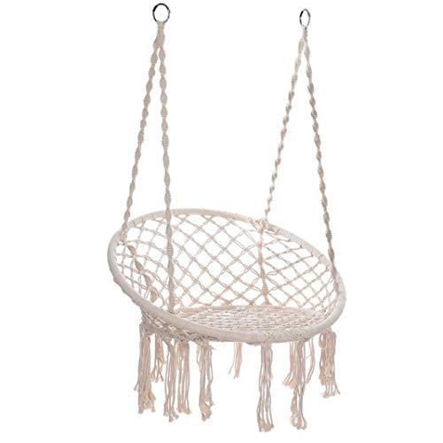 SUNUQ Hammock Chair Macrame Swing | Handmade Hanging Rope Patio Chairs for Indoor, Outdoor Home, Bedroom, Deck, Yard, Garden Wide Seat (White)