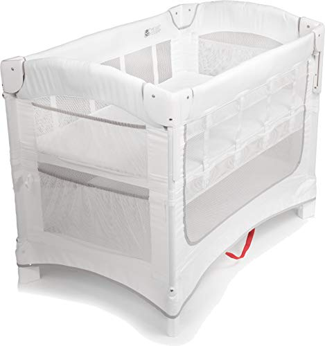 Arm's Reach Ideal Ezee 3 in 1 Co-Sleeper Portable Baby Bassinet, Bedside Sleeper, and Play Yard for Newborns and Infants, Foldable for Travel, White