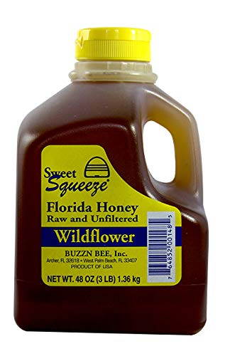 Sweet Squeeze Raw and Unfiltered Wildflower Honey - From Florida's Beekeepers, 48 Ounce