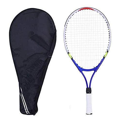 Pwshymi Raqueta de Tenis para niños, Conjunto de Raqueta de Tenis con Marco de aleación de Aluminio, Raquetas de Tenis Junior con Bolsa de Correa para el Hombro para Entrenamiento de niños(Azul)