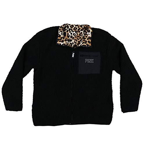 Victoria's Secret Pink Jacket Reversible Sherpa Full Zip (XS, Black Cheetah)