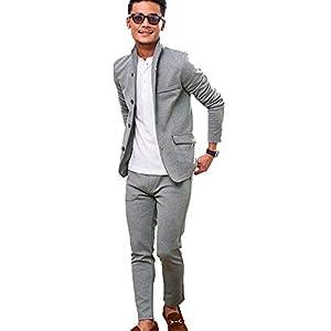 (ビッチ)VICCI メンズ 無地 カルゼ ロングパンツ イタリアンカラー ジャケット セットアップ 上下 スーツ 44(M) GRY(グレー)