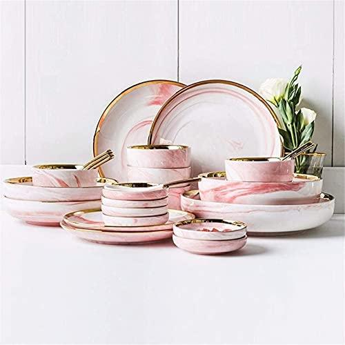 JXH Juego de platos de cena de cerámica, 26 piezas, tazón/plato/cuchara, juego de vajilla de mármol Phnom, juego de vajilla de combinación de estilo minimalista nórdico, rosa, Euro Ceramica