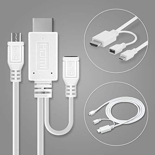 subtel MHL-Adapter, Micro-USB 5-Pin zu HDMI-Adapter z.B. für HTC One M9 / One X/für Sony Xperia Z1 / Z2 / Z3 / Z5, etc - für HD-Bild/Ton-Übertragung - 1,5m