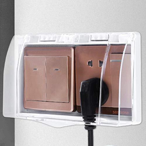 Interruptor de enchufe de inodoro caja impermeable, cubierta protectora de baño, tapa transparente tipo pasta impermeable interruptor cubierta protectora, enchufe exterior (tapa transparente)