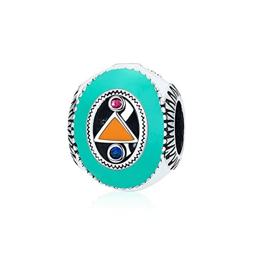 HMMJ S925 Color Plata esterlina Aceite Que gotea Circón Extraño Charm Bead BSC453