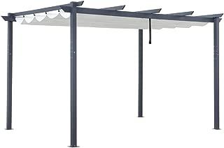 ALEKO PERGWT10X13 Aluminum Outdoor Retractable Canopy Pergola - 13 x 10 Ft - Cream White Color