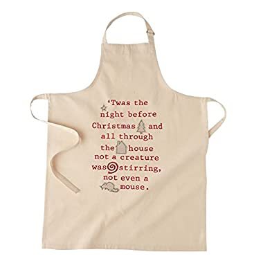 Mudpie White Reindeer Christmas Applique Apron