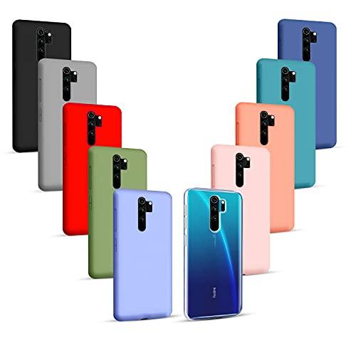 Iuveruln 10X Cover Compatibile con Xiaomi Redmi Note 8 PRO, Custodia in TPU Tinta Unita Silicone Morbido, Cover Ultra Sottile AntiGraffio e Antiurto- Trasparente+9 Colori
