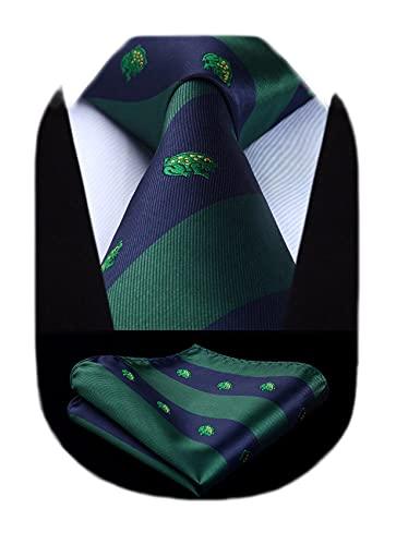 HISDERN Frog Wedding Party Tie Panuelo corbata de los hombres y el juego de bolsillo cuadrado