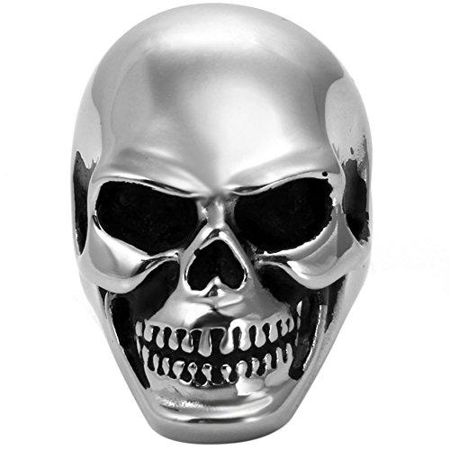 JewelryWe Bijoux Bague Homme Tête de Mort Crâne Gothique Rock Acier Inoxydable Fantaisie Anneau Couleur Argent Taille 62
