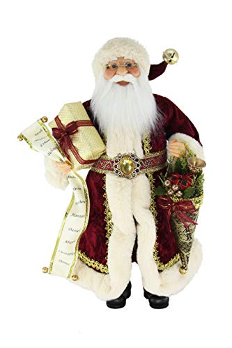 16' Inch Standing Christmas Cone and Name List Red Velvet Santa Claus Figurine Figure Decoration 169240W