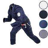 Gold BJJ Jiu Jitsu Gi - Ultra Lightweight Men's Aeroweave - Preshrunk Brazilian Jiu Jitsu Uniform for Men (Navy, A1)