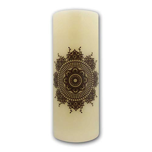 Star LED Wax Candle with Ornament, White/Brown