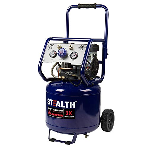 Stealth 12 Gallon Ultra Quiet Air Compressor, 1.5 HP Oil-Free Peak 150 PSI 68 Decibel Air Pump, 4 CFM @ 90 PSI, Long Life Electric Air Compressor W/Wheels for Garage, Workshop, Jobsite