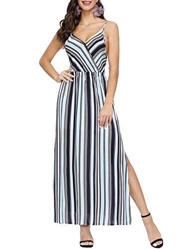 Women's Wrap V Neck Backless Striped Split Casual Summer Dresses for Wedding Party Light Blue M