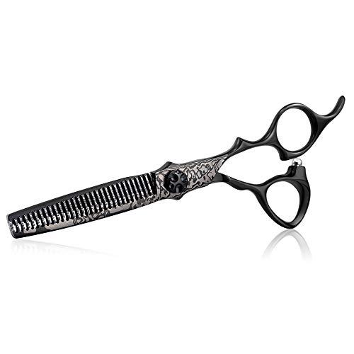 Effilierschere, 15,2 cm, professionelle Friseurschere zum Trimmen von Haaren, Texturierungsschere für Männer, Frauen, Erwachsene, japanischer Edelstahl, bedruckt, Damast, Schwarz