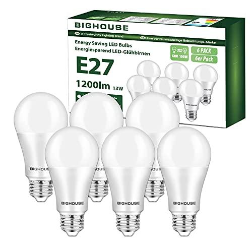 Ampoule LED E27, 13W équivalent Ampoule Halogène 100W, 1200LM, Blanc Chaud 3000k, A60 Culot Edison à vis, Lot de 6