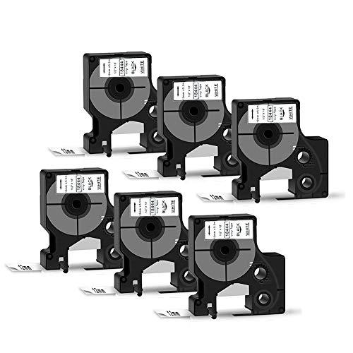 SZEHAM 6X Kompatible DYMO 18444 Industrie Vinyletiketten Selbstklebend Etikettenband als Ersatz 12mm x 5.5m Etiketten Schriftband Schwarz auf Weiß für Rhino 5200 5000 1000 3000 4200 Etikettendrucker