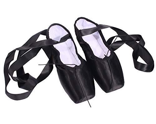 CYSTYLE Damen Mädchen Satin Spitzenschuhe Ballettschläppchen Ballettschuhe Tanzschuhe Ballett Trainings Schläppchen mit Silikonhülle (EU 33=Asia 35, Schwarz)