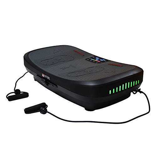 AsVIVA 4D Vibrationsplatte V12 Pro mit 3 energieeffizienten Motoren, Bluetooth, Magnetfeldtherapie Massage, Curved Design, horizontale, vertikale, oszillierende Vibrationstechnik