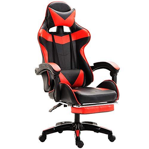 ACEWD Racing Hochwertiger Bürostuhl Gaming Stuhl, Ergonomischer Gaming Stuhl Drehstuhl Mit Einstellbaren Armlehnen Mit Fußstütze,Rot
