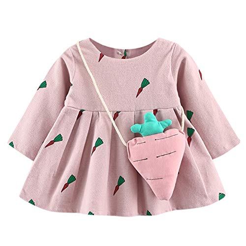 JERFER JERFER Süßes Karotten Print Kleid Kleinkind Langarm-Prinzessin Kleid + kleine Tasche