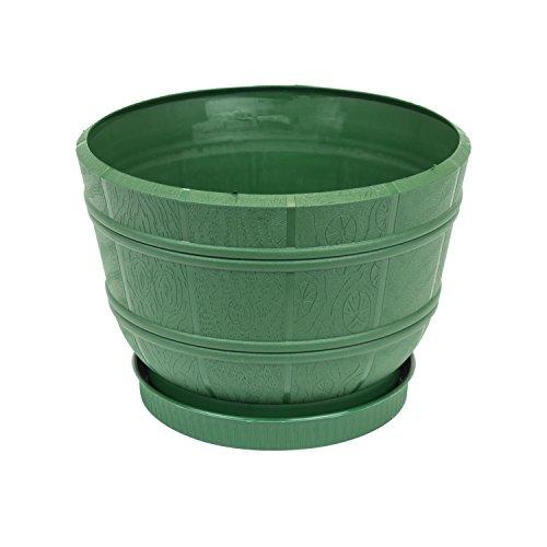 Pot de fleur Flora avec soucoupe en bois atificiel 20.5 cm en verte couleur