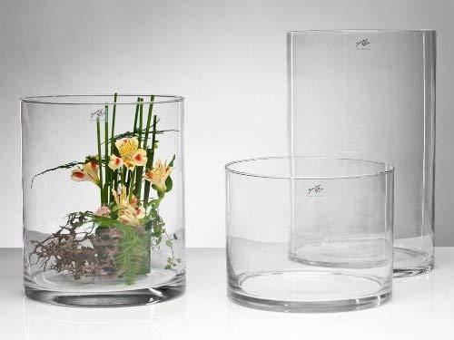 Glasvase Cyli klar zylindrisch 30 cm Ø 25 cm hot cut von Sandra Rich