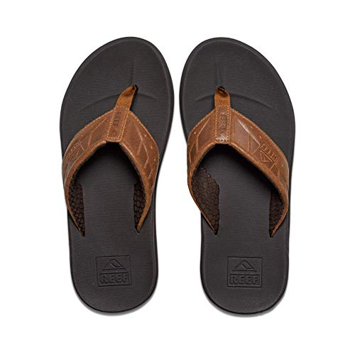 Reef Men's Sandals Phantom Leather | Athletic Flip Flops for Men with Contoured Footbed | Waterproof | Brown/Tan | Size 10