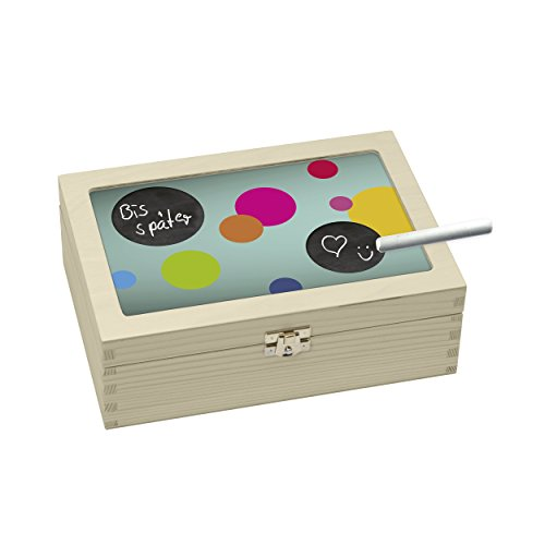 contento 866391 Boîte à thé Multicolore Cercle, Bois, 23,5x16,5x9 cm