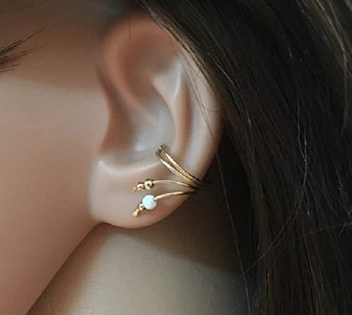 FloweRainboW Dreifach Ohr Manschette - Kein Piercing Ohr Klemme - Opal Helix Ohrringe - Ohrspange Gold Silber