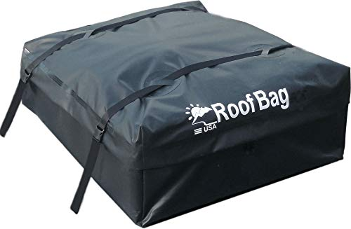 RoofBag Rooftop Cargo Carrier Bundle | Made in USA | 15 cu ft | Includes: Protective Mat + 3 Liner Bags + Storage Bag | Premium-Waterproof Luggage Car Top Bag | Fits All Cars: with or Without Rack