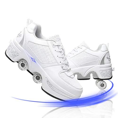 YUNWANG Schuhe 4 Rollen 2 In 1 Multifunktionale Rollschuhe Turnschuhe Roller Kinderschuhe Doppelte Fahrbare Rollen Laufschuhe Sportschuhe Kinder Skateboard