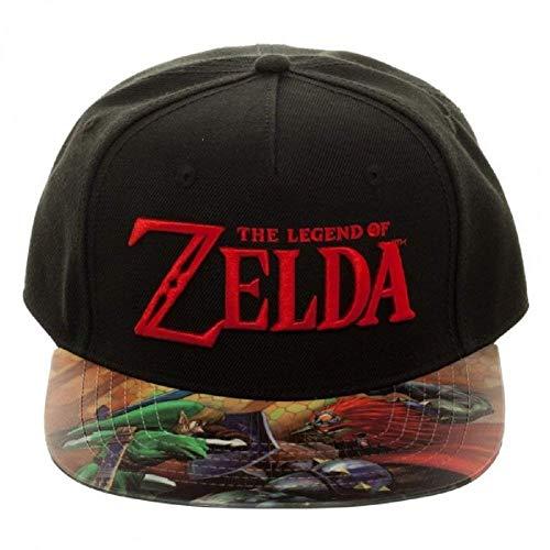 Bioworld Nintendo Legend of Zelda Gorra Ajustable con Visera Plana con Estampado de Vinilo
