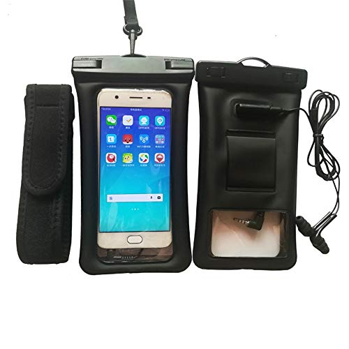 8haowenju El Bolso Inflable de la Prenda Impermeable del teléfono móvil del Saco Hinchable TPU, Toma el teléfono, Toma imágenes, Pantalla táctil, Conecta los Auriculares (Color : Black)