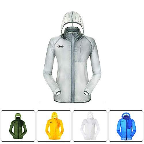 Dooy - Chaqueta de ciclismo para correr, resistente al viento, impermeable, con capucha, protección UV, ultraligera y plegable, Hombre, color gris, tamaño large