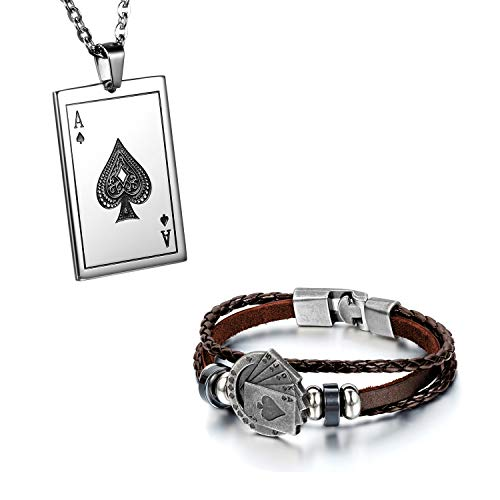 Flongo Herrenarmband Lederarmband Herren-Kette Männer Anhänger Männer Armband, Herren Armreif Leder Armband Anhänger Halskette mit Spielkarte Royal Flush Poker Karten Set Braun