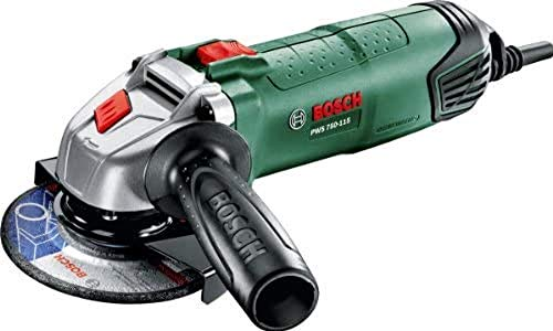 Bosch Home and Garden PWS 750-115 Amoladora, Empuñadura antivibraciones, Cubierta protectora, Velocidad en vacío 12.000 opm, Disco lijador de 115 mm, Con maletín, 750 W