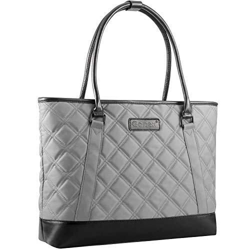 Gonex Work Tote Bags for Women,Fit 15 Inch Laptop Leather Computer Bag Gray