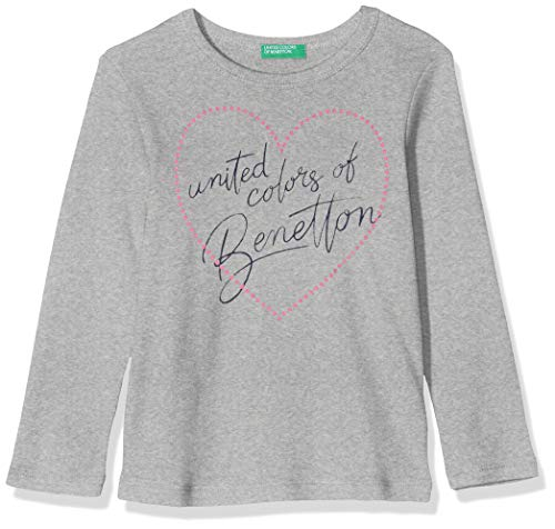 United Colors of Benetton Meisjes T-shirt Manica Lunga Cuore Scritta Glitter Fluo Pullunder