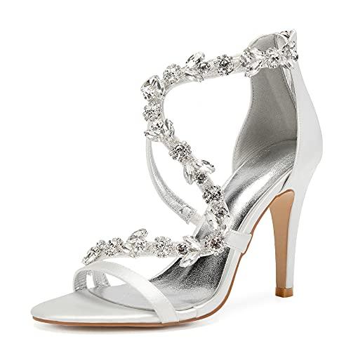 MGYQ Sandalias de tacón Alto para Mujer Punta Abierta Diamante Correas Cruzadas Zapatos de Novia de Boda Sandalias,Marfil,6 UK