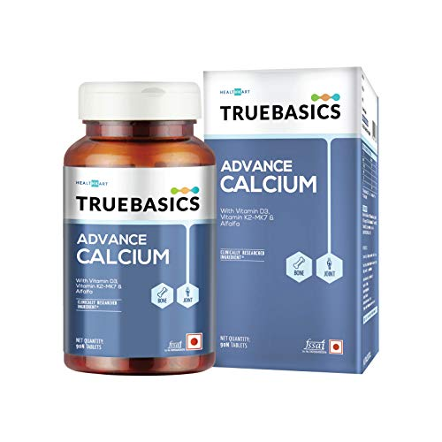 TrueBasics Advance Calcium Tablets for Men and Women, with Vitamin D3, Vitamin K2-MK7, Magnesium, Zinc , Alfalfa | Clinically Researched Ingredient | (90 Calcium Supplement )