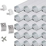 Perfil angular LED de aluminio de 45 grados, 20 x 100 cm, perfil de aluminio para tiras LED con cubierta blanca lechosa, tapas de extremo y pinza de montaje
