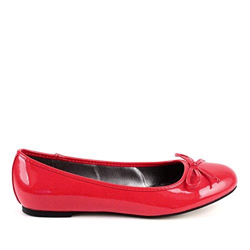 Flache Ballerinas für Damen und Junge Frauen mit flachem Blockabsatz und dekorativer Schleife - Loafer - TG104 – Große Auswahl an Farben und Ausführungen – Lack Rot - Große - 45 EU