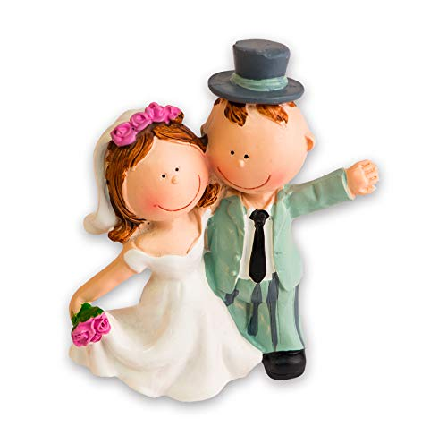 Hobbyfun Hochzeitspaar VI Tortenfigur ca. 9 cm - Dekofiguren als Topping für Hochzeits-Torte - Geschenkidee für Braut & Bräutigam am Hochzeitstag