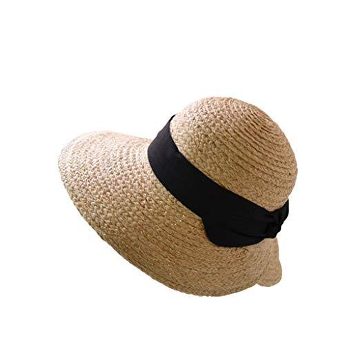 Unbekannt LINGZHIGAN Sommer-Strand-Strand-Feiertags-Sonnenblende Audrey Hepburn Straw Sun Hat