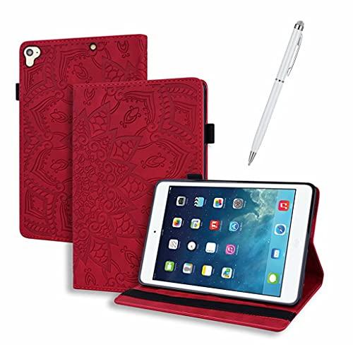 DYGG Compatible con Funda Apple iPad 7/iPad 8/10.2 Pulgada/iPad Air 10.5 Pulgada Portátil Funda de Tableta Cuero PU+TPU Tablet Sleeve Bag Funda Protectora Carcasa con Auto-Sueño/Estela,Rojo