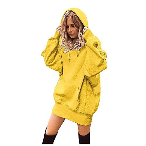 Suéter largo grueso para mujer con capucha de manga larga pequeña y fresca con bolsillos, amarillo, S