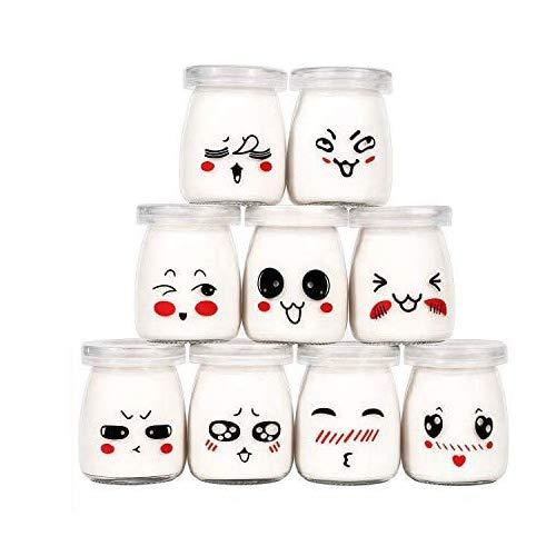 Langlee Set de 9 Vasos para Yogurtera, Vasos de Repuesto Tarros Cristal...